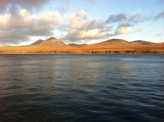 Mountains on Isle of Jura as seen from the sea