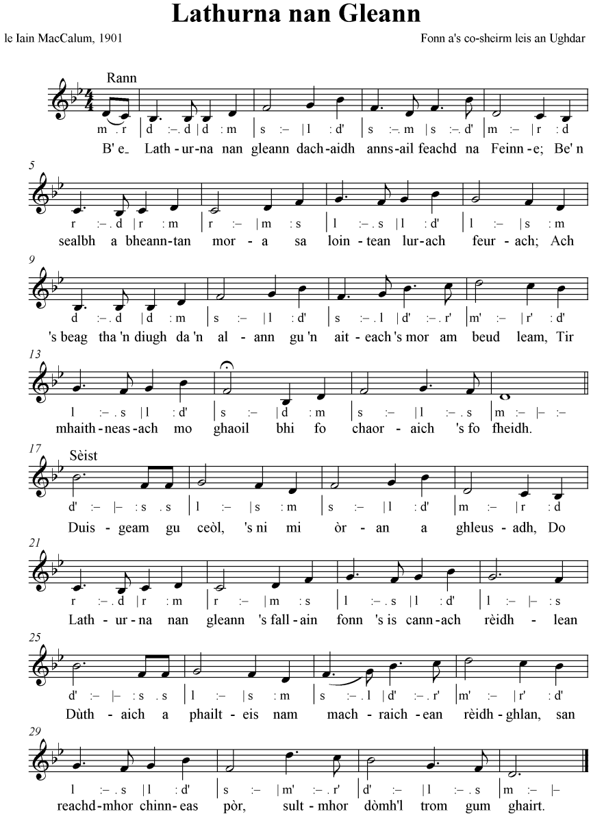 Music for Latharna nan Gleann