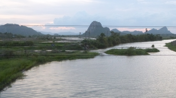 Crossing a river in Southern Thailand