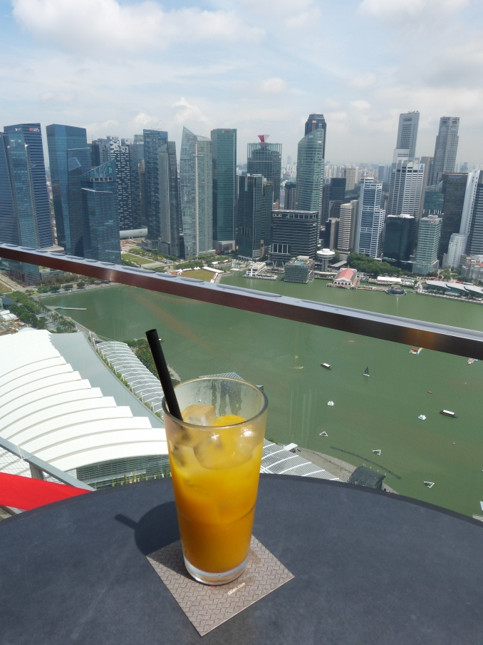 Chilling in a rooftop bar in Singapore