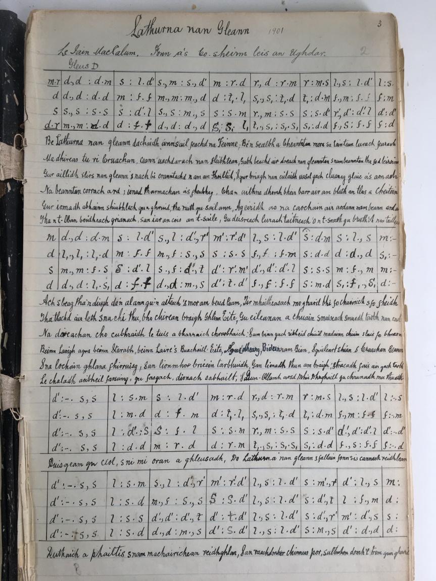 Photo of the original handwritten composition of Latharna nan Gleann