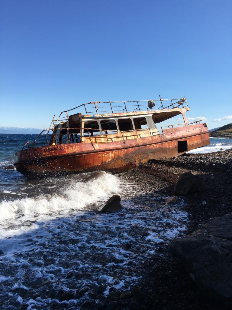 Stranded refugee boat
